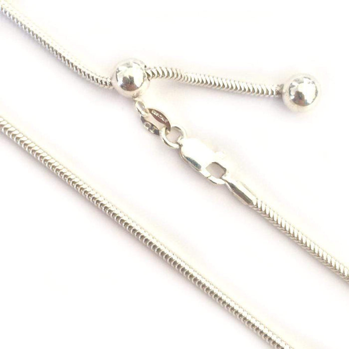 "Sterling Silver Chains - HPSilver, 24"" Thick Adjustable Sterling Silver Chains CH.DAV.1106"