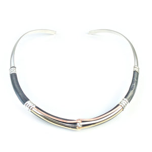 Collars Leather Necklace - HPSilver, Silver and Leather over Brass Adjustable Collar CL.MOS.0001
