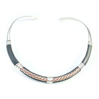 Collars Leather Necklace - HPSilver, Silver and Leather over Brass Adjustable Collar CL.MOS.0002