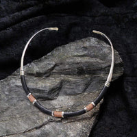 Collars Leather Necklace - HPSilver, Silver and Leather over Brass Adjustable Collar CL.MOS.0003