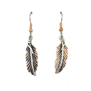 Copper Earrings - HPSilver, Copper and Sterling Silver Dangle Feather Earrings ER.VIC.4051