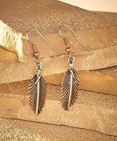 Earrings Copper Earrings - HPSilver, Copper and Sterling Silver Dangle Feather Earrings ER.VIC.4051