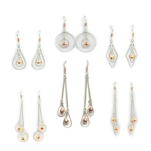 Earrings Discount Packs - HPSilver, Sterling Silver and Copper Dangle Earrings, Wholesale Pack of 6 ER.GAM.2000