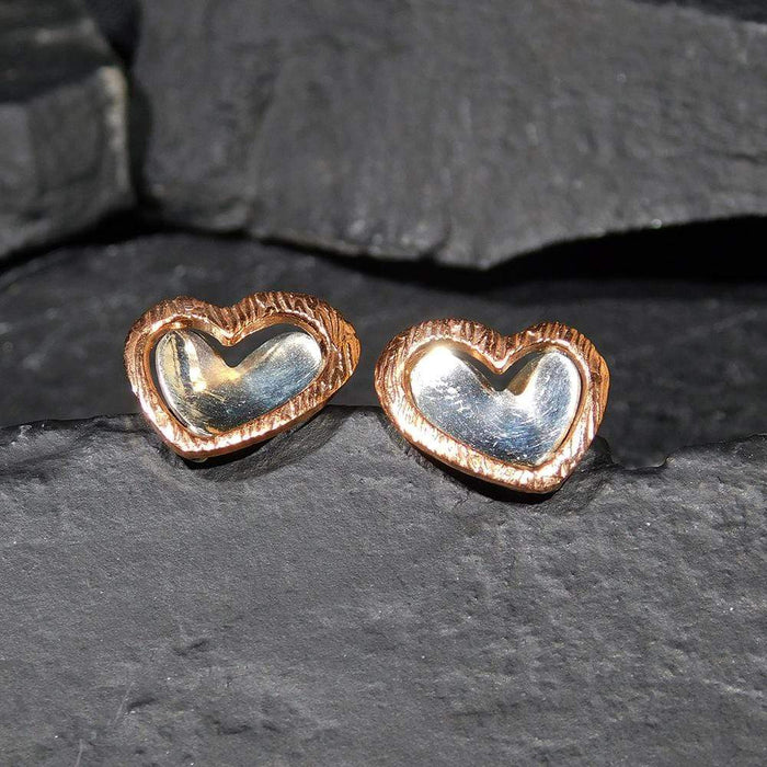 Sterling Hearts with a Warm Glow - HPSilver, Sterling Silver and Copper Post Earrings ER.EYA.2015
