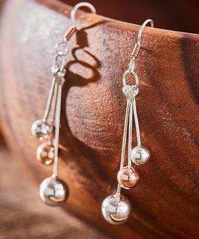 Sterling Silver Earrings - HPSilver, Sterling Silver and Copper Dangle Earrings ER.GAM.2032