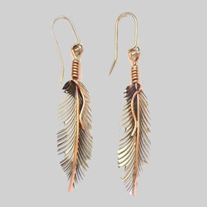 Earrings Sterling Silver Earrings - HPSilver, Sterling Silver and Copper Dangle Feather Earrings ER.VIC.2009