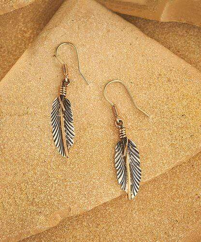 Sterling Silver Earrings - HPSilver, Sterling Silver and Copper Dangle Feather Earrings ER.VIC.2009