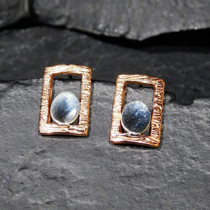 Sterling Silver Earrings - HPSilver, Sterling Silver and Copper Post Earrings ER.EYA.2012
