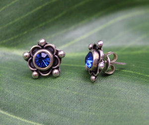 Sterling Silver Earrings - HPSilver, Sterling Silver with Blue CZ Stud Earrings ER.EMA.1515
