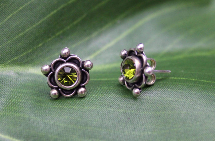 Sterling Silver Earrings - HPSilver, Sterling Silver with Green CZ Stud Earrings ER.EMA.1513