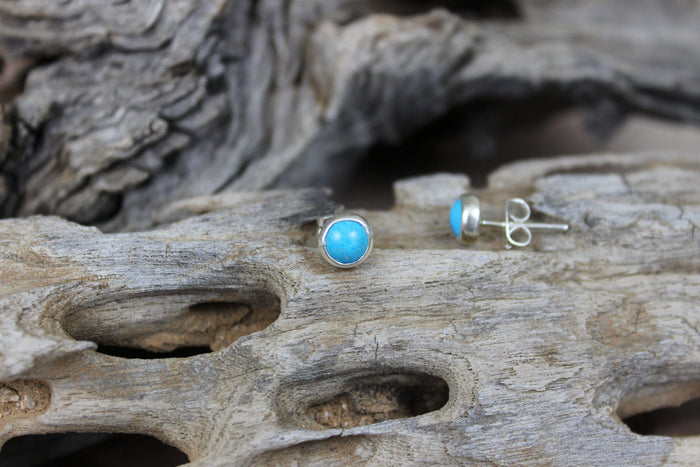 Sterling Silver Earrings - HPSilver, Sterling Silver with Turquoise Stud Earrings ER.ANT.1001