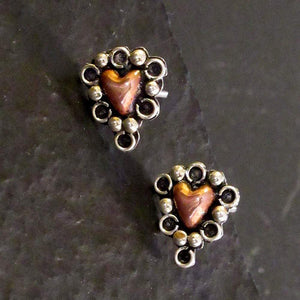 Warm Copper Hearts - HPSilver, Sterling Silver and Copper Stud Earrings ER.EMA.2003