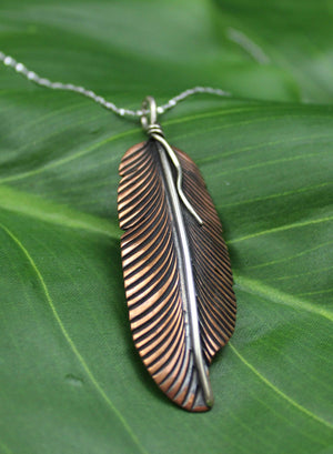 Pendants Copper Pendant - HPSilver, Copper and Sterling Silver Liberty Feather Pendant PN.VIC.4024
