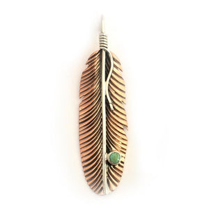 Copper Pendant - HPSilver, Copper and Sterling Silver with Turquoise Liberty Feather Pendant PN.VIC.4001
