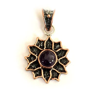 Pendants Sterling Silver Pendant- HPSilver, Sterling Silver and Copper with Amethyst Sunflower Pendant  PN.ANG.2110