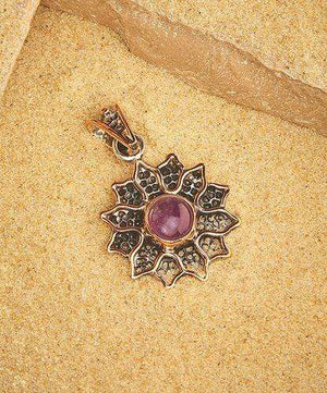 Sterling Silver Pendant- HPSilver, Sterling Silver and Copper with Amethyst Sunflower Pendant  PN.ANG.2110