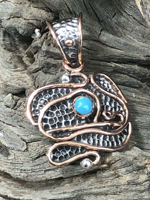 Pendants Sterling Silver Pendant- HPSilver, Sterling Silver and Copper with Turquoise Crest Pendant PN.VIC.2064
