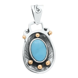 Pendants Sterling Silver Pendant- HPSilver, Sterling Silver and Copper with Turquoise Pendant PN.VIC.2123