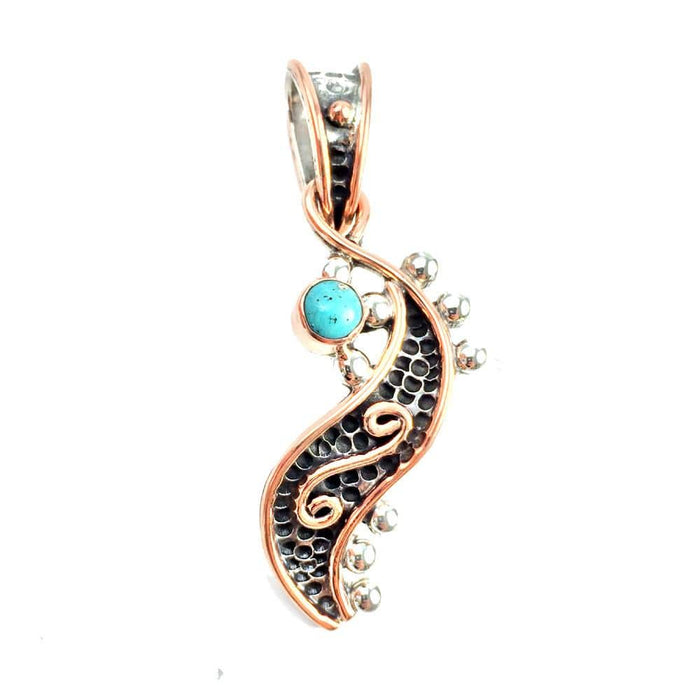 Sterling Silver Pendant- HPSilver, Sterling Silver and Copper with Turquoise Royal Scepter Pendant PN.VIC.2112