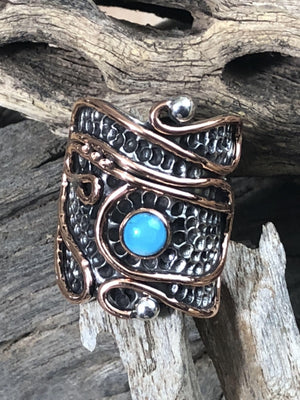 Rings Sterling Silver Ring - HPSilver, Sterling Silver and Copper with Turquoise Ring - The Royal Crest RG.VIC.2035