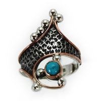 Rings Sterling Silver Ring - HPSilver, Sterling Silver and Copper with Turquoise Ring - The Royal Crown RG.VIC.2033