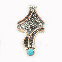 Rings Sterling Silver Ring - HPSilver, Sterling Silver and Copper with Turquoise Ring - The Royal Dragon RG.VIC.2036