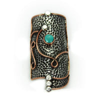 Rings Sterling Silver Ring - HPSilver, Sterling Silver and Copper with Turquoise Ring - The Royal Shield RG.VIC.2037