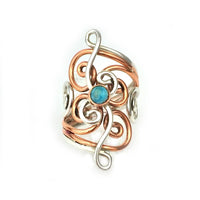 Rings Sterling Silver Ring - HPSilver, Sterling Silver and Copper with Turquoise Rings RG.FEL.2051