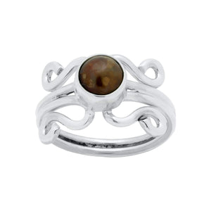 Sterling Silver Ring - HPSilver, Sterling Silver with Bronze Pearl, Wire Ring RG.FEL.1103