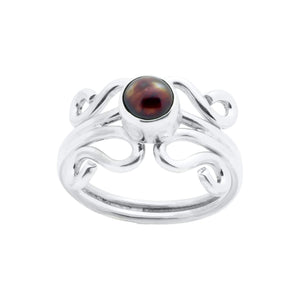 Sterling Silver Ring - HPSilver, Sterling Silver with Burgundy Pearl, Wire Ring RG.FEL.1102