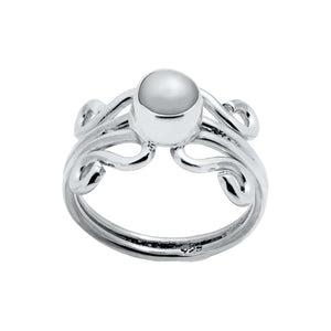 Sterling Silver Ring - HPSilver, Sterling Silver with White Pearl, Wire Ring RG.FEL.1101