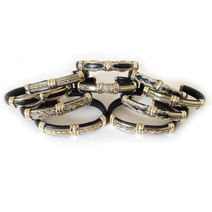 wholesale packs Discount Packs - HPSilver, Unique Leather Bracelets Black and Brass Wholesale Pack of 10  BR.ULB.0500