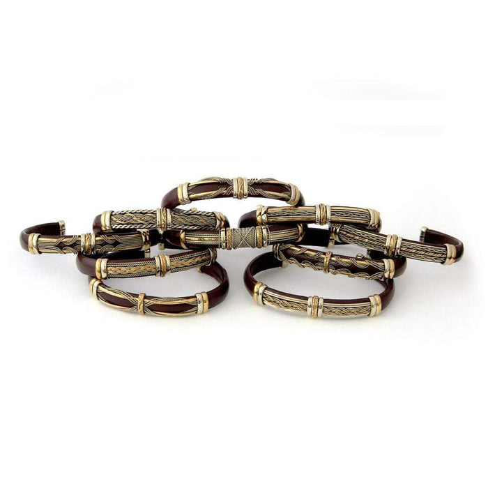 Discount Packs - HPSilver, Unique Leather Bracelets Brown and Brass Wholesale Pack of 10  BR.ULB.0600