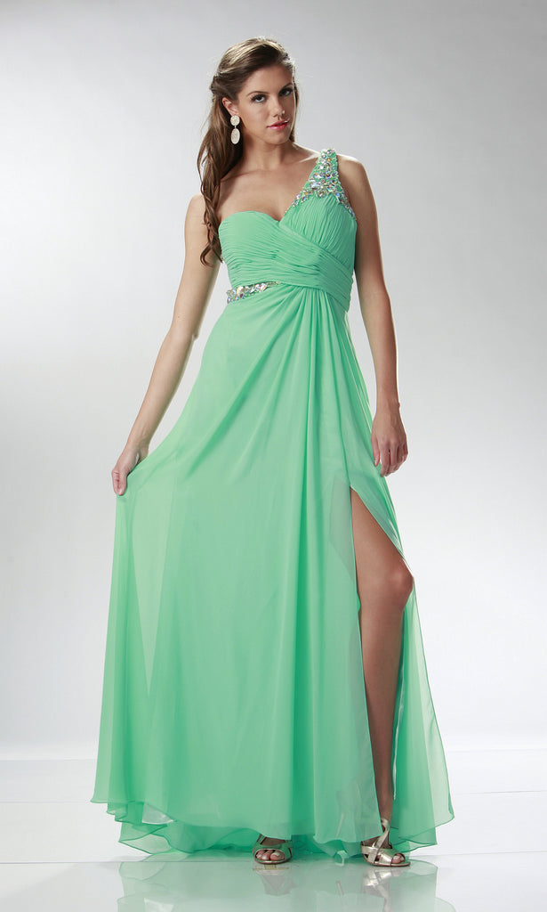 BEADED ONE SHOULDER CHIFFON GOWN WITH DRAPED BODICE – All Dressed Up ...