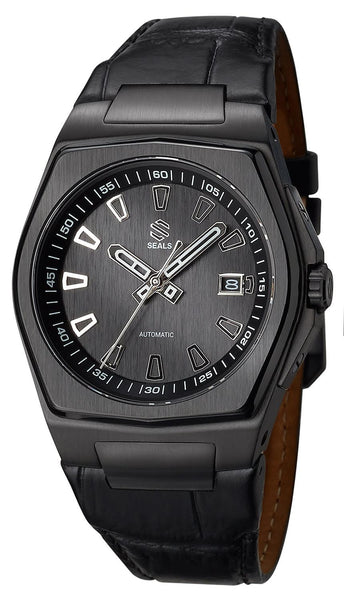 Black PVD with Brushed Black Dial on Steel Bracelet Automatic Watch - American Microbrand