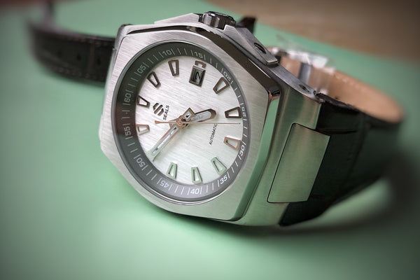 Stainless Steel With Slate Gray Dial Ring and Brushed Silver Dial Automatic Watch - American Microbrand