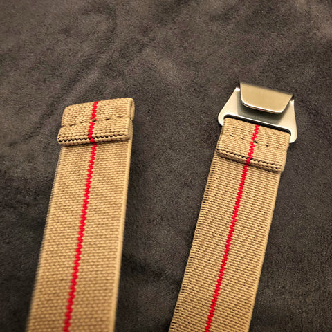 "Parachute Style ""No Pass"" Elastic Watch Straps - Khaki With Red Stripe - American Microbrand"