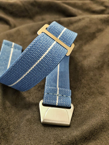 "Parachute Style ""No Pass"" Elastic Watch Strap - Light Blue with White Stripe - American Microbrand"