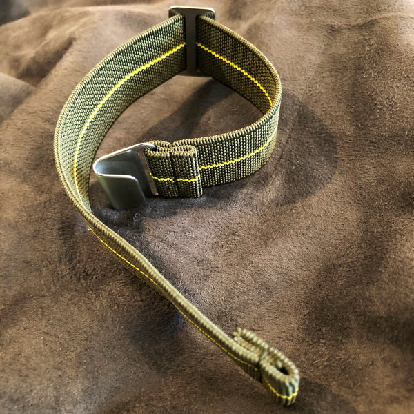 "Parachute Style ""No Pass"" Elastic Watch Strap - Forest Green and Yellow Stripe - American Microbrand"