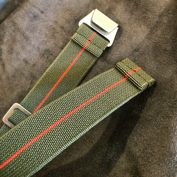"Parachute Style ""No Pass"" Elastic Watch Strap - Forest Green and Red Stripe - American Microbrand"