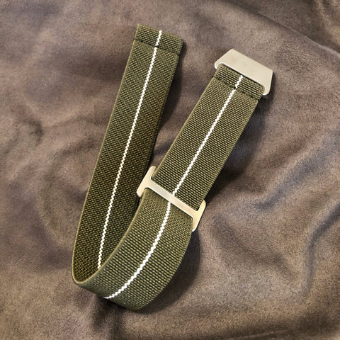 "Parachute Style ""No Pass"" Elastic Watch Straps - Army Green with White Stripe - American Microbrand"