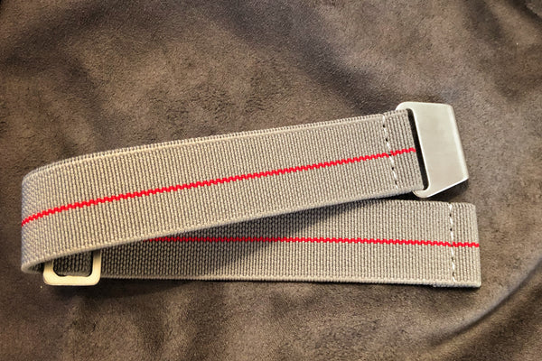 "Parachute Style ""No Pass"" Elastic Watch Strap - Gray with Red Stripe - American Microbrand"