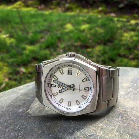 Stainless Steel With Brushed White/Silver Dial on Steel Bracelet Automatic Watch - American Microbrand