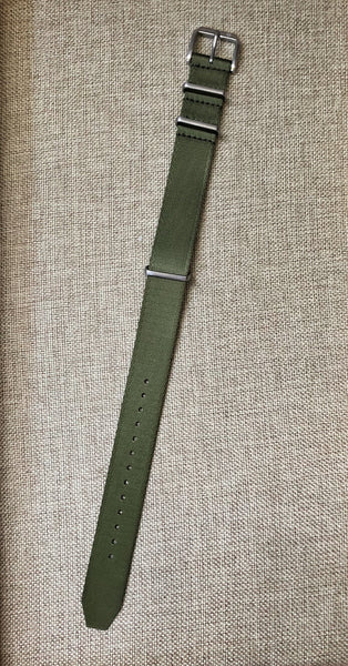 Army / Olive Green Nylon Single Piece Watch Strap, 20mm Dive Watch Band - American Microbrand