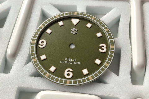 Model C Dial Set - Granulated Jungle Green Dial with White Accents