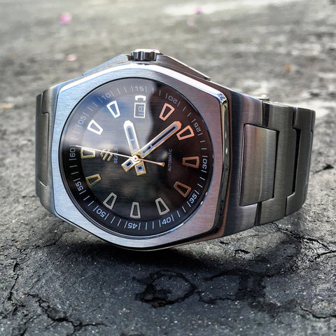 Stainless Steel With Brushed Black Dial on Steel Bracelet Automatic Watch - American Microbrand