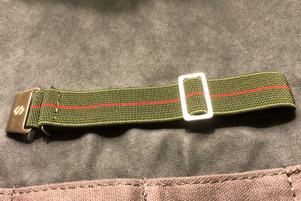 Parachute Style Elastic Watch Straps - Army Green and Red Stripe - American Microbrand