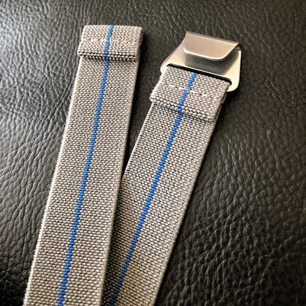 "Parachute Style ""No Pass"" Elastic Watch Strap - Gray with Blue Stripe - American Microbrand"