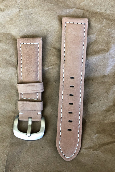 Tan Leather Watch Strap For Field Watch, 22mm, Panerai Style - American Microbrand