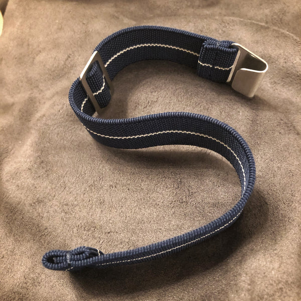 "Parachute Style Elastic ""No Pass"" Watch Straps - Navy Blue and White Stripe - American Microbrand"